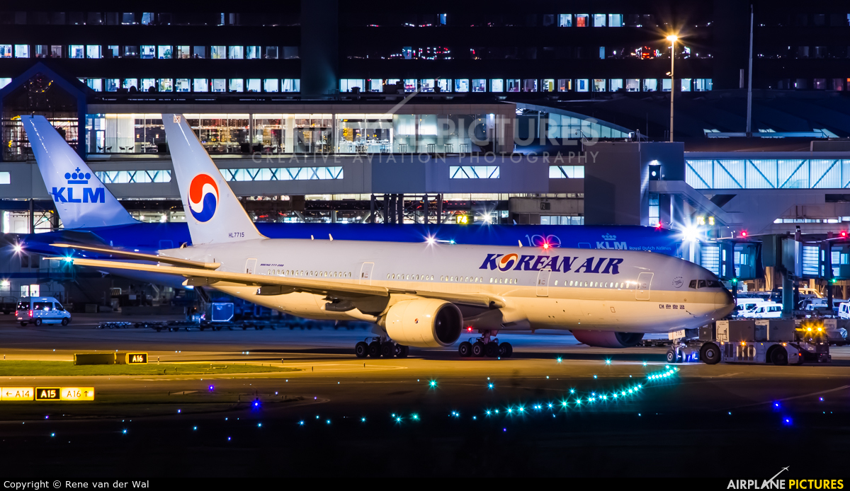 Korean Air HL7715 aircraft at Amsterdam - Schiphol