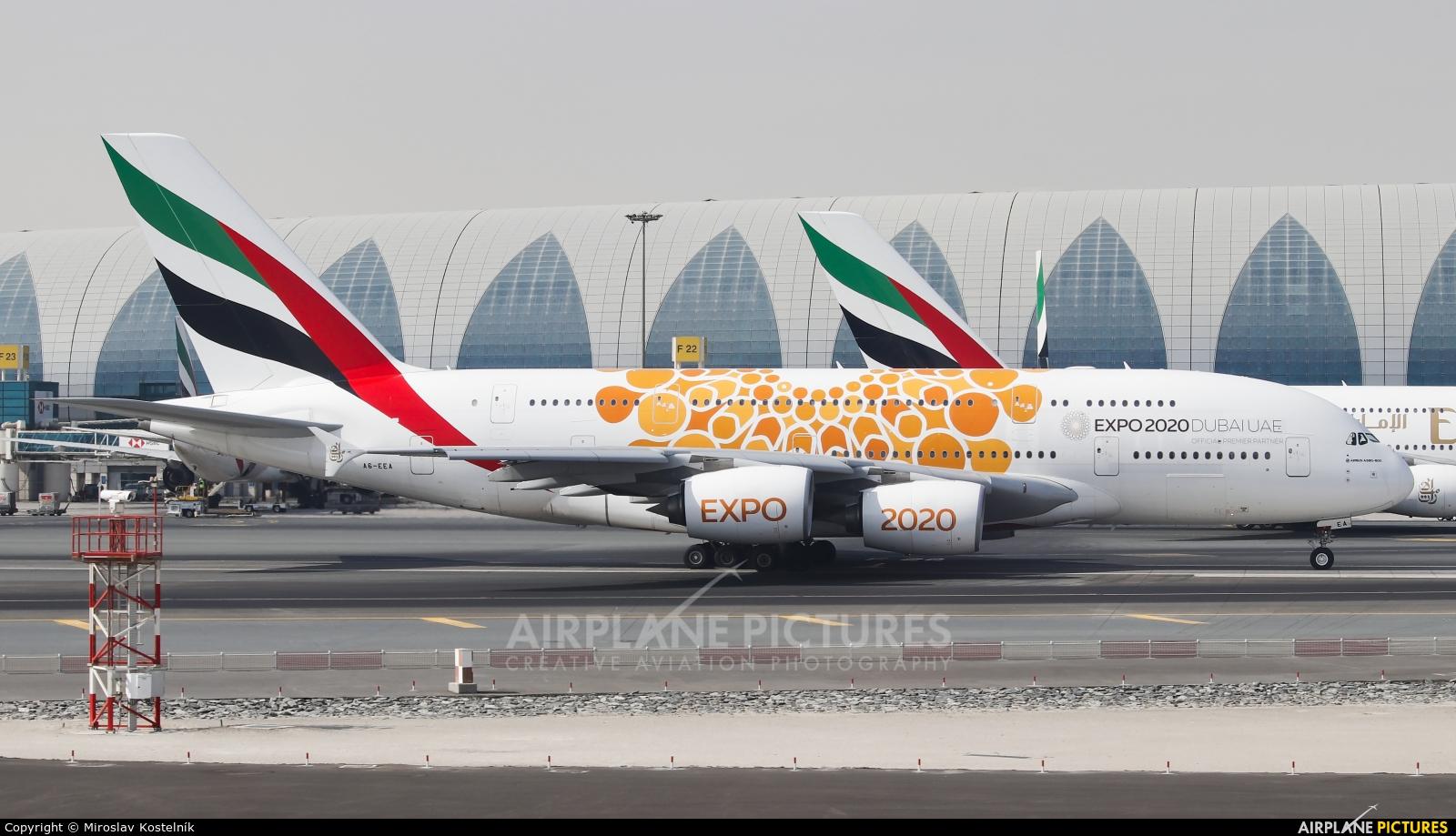 Emirates Airlines A6-EEA aircraft at Dubai Intl