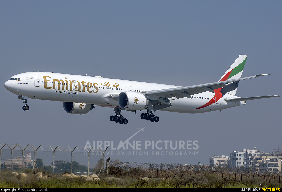 Emirates Airlines A6-ECI aircraft at Larnaca Intl