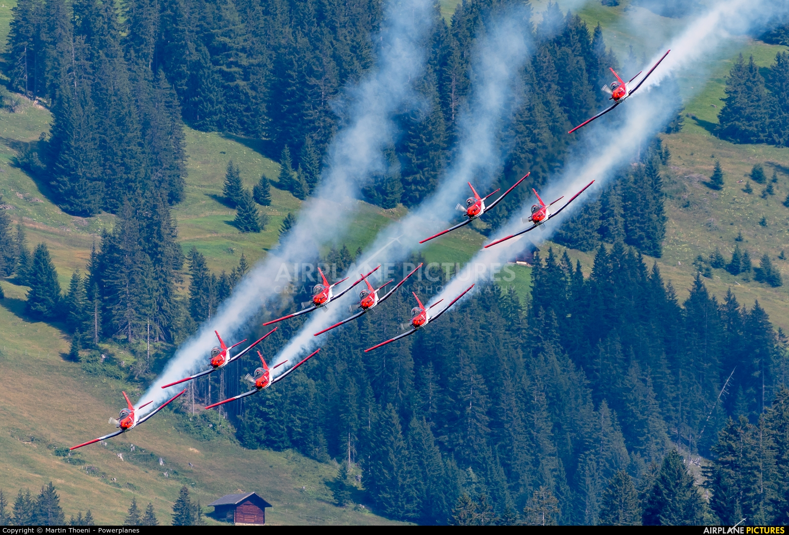 Switzerland - Air Force: PC-7 Team A-926 aircraft at St. Stephan