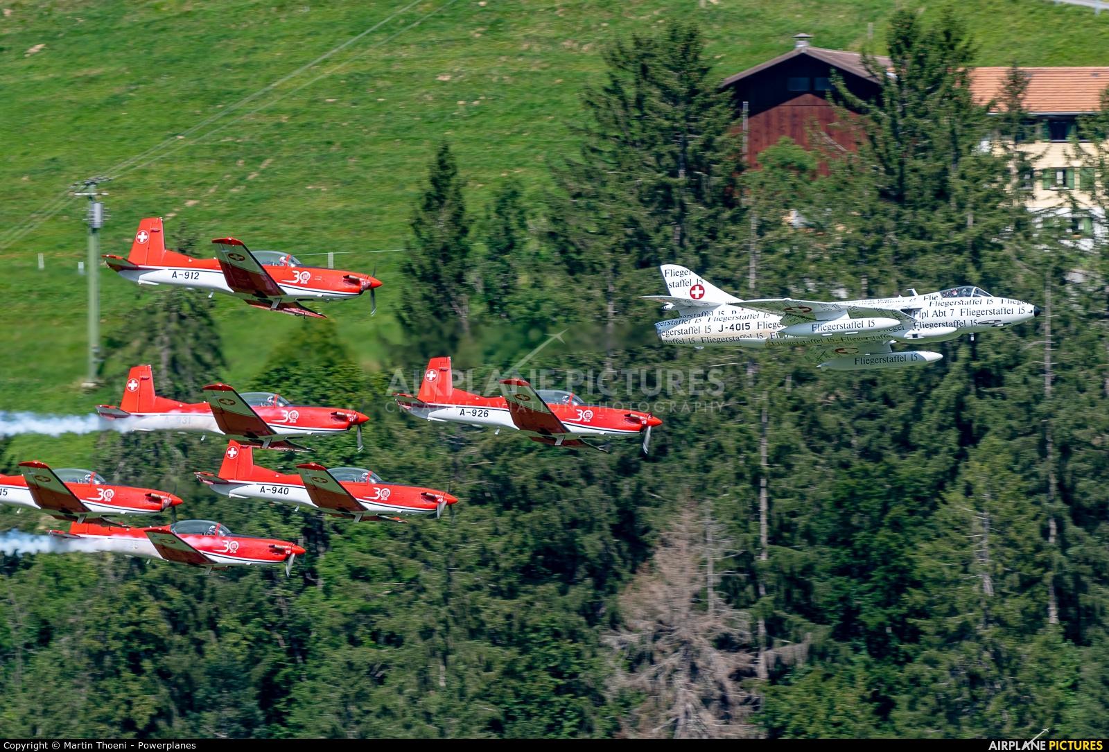 Switzerland - Air Force: PC-7 Team A-926 aircraft at St. Stephan