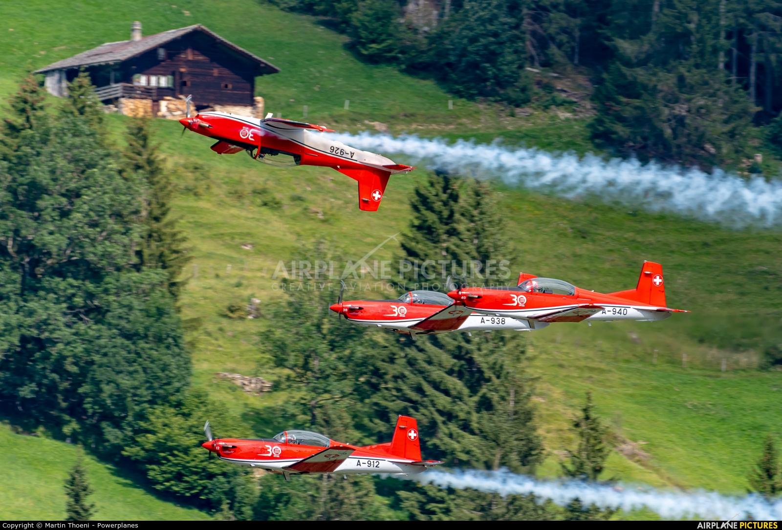 Switzerland - Air Force: PC-7 Team A-940 aircraft at St. Stephan