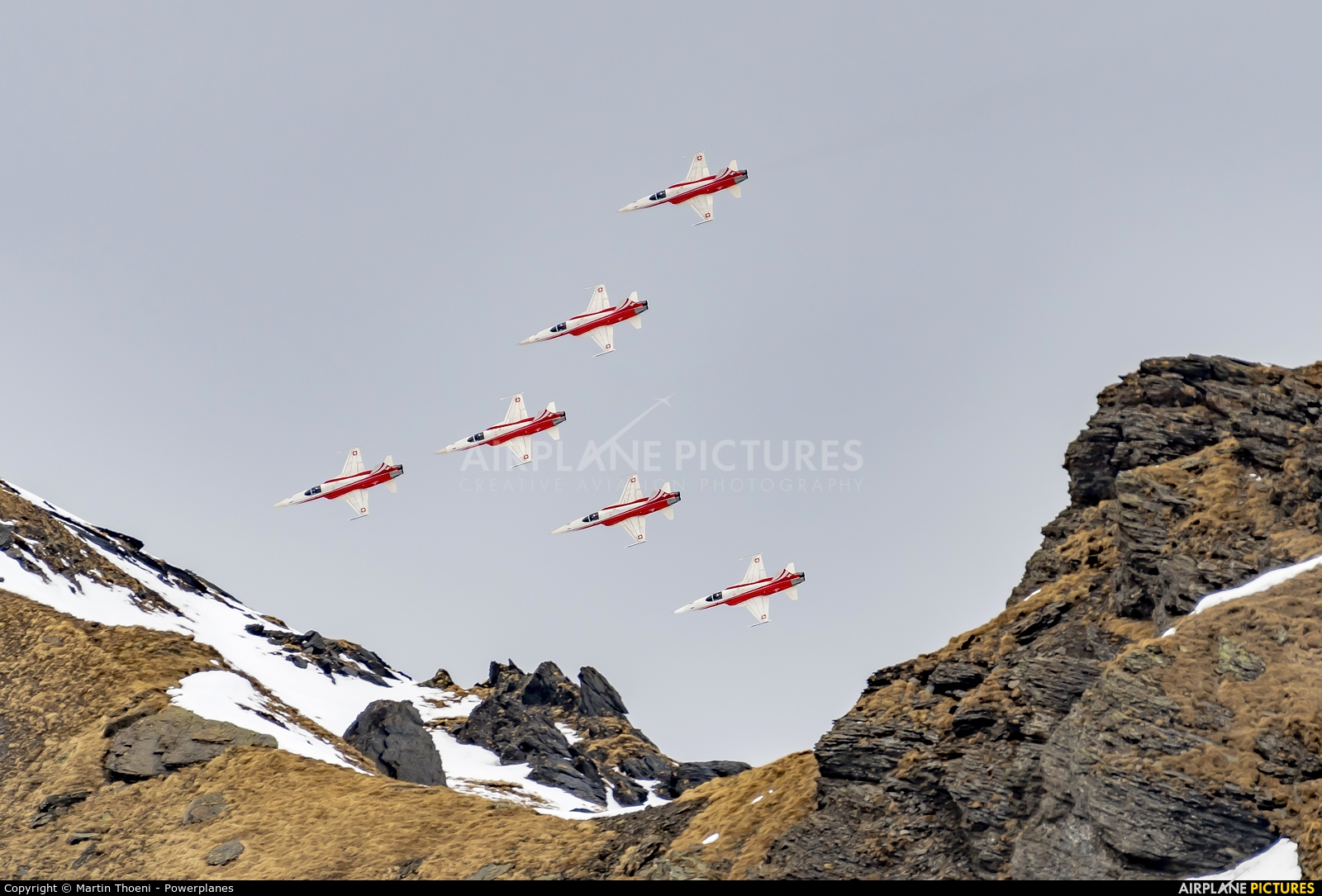 Switzerland - Air Force: Patrouille Suisse J-3090 aircraft at Lauberhorn