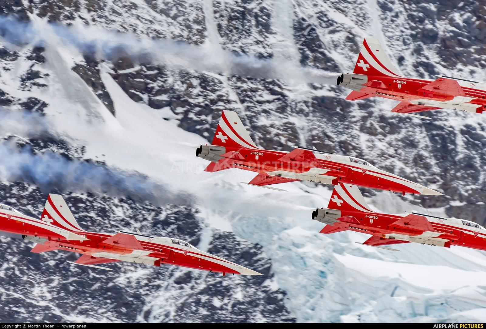 Switzerland - Air Force: Patrouille Suisse J-3082 aircraft at Lauberhorn