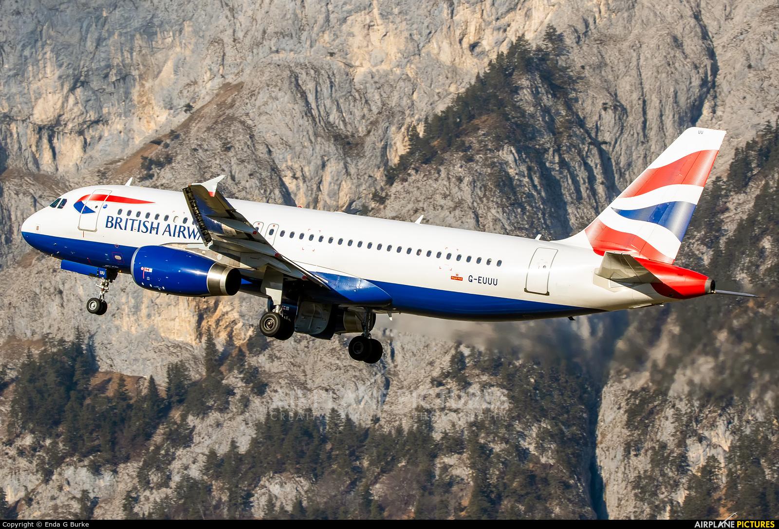 British Airways G-EUUU aircraft at Innsbruck