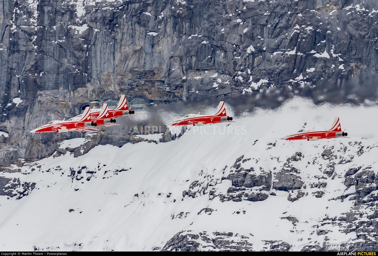 Switzerland - Air Force: Patrouille Suisse J-3083 aircraft at Lauberhorn