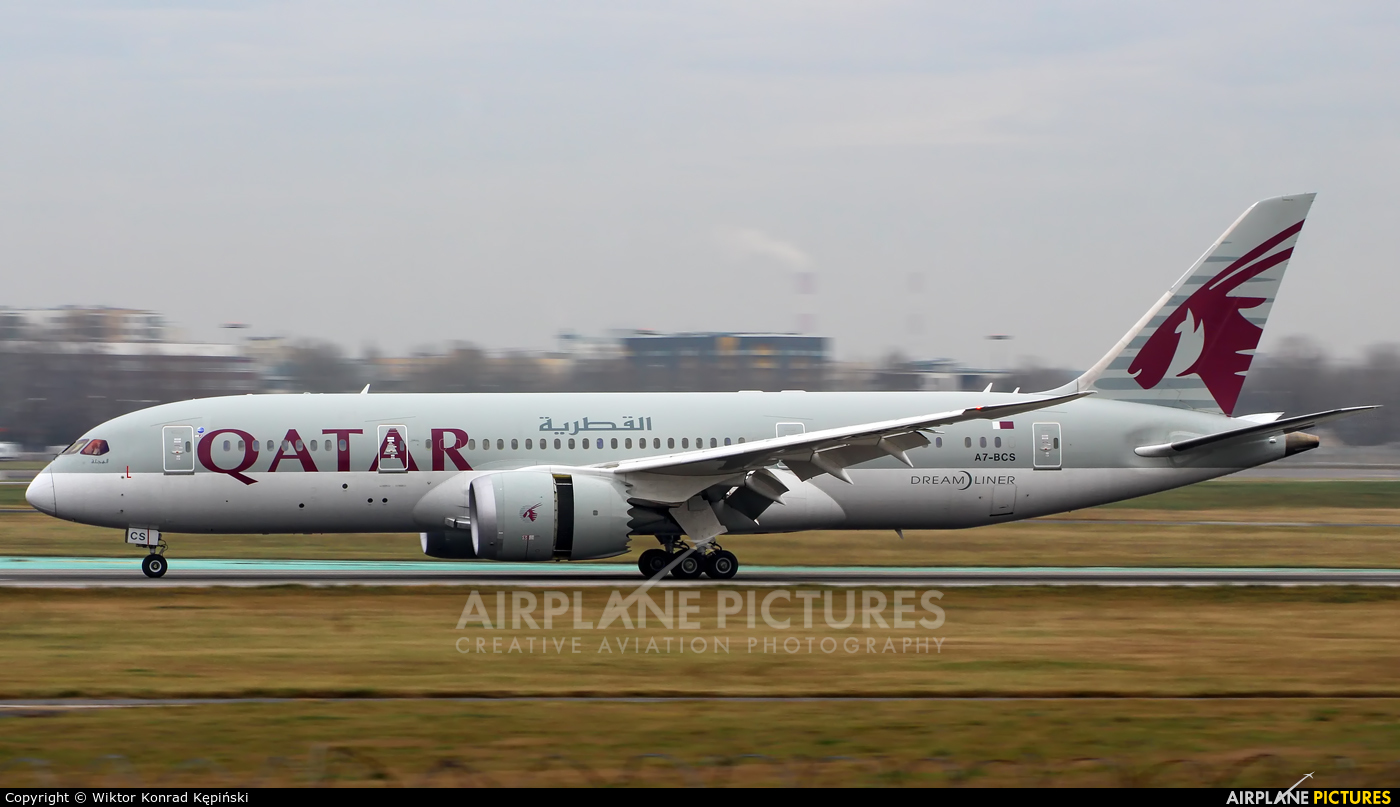 Qatar Airways A7-BCS aircraft at Warsaw - Frederic Chopin