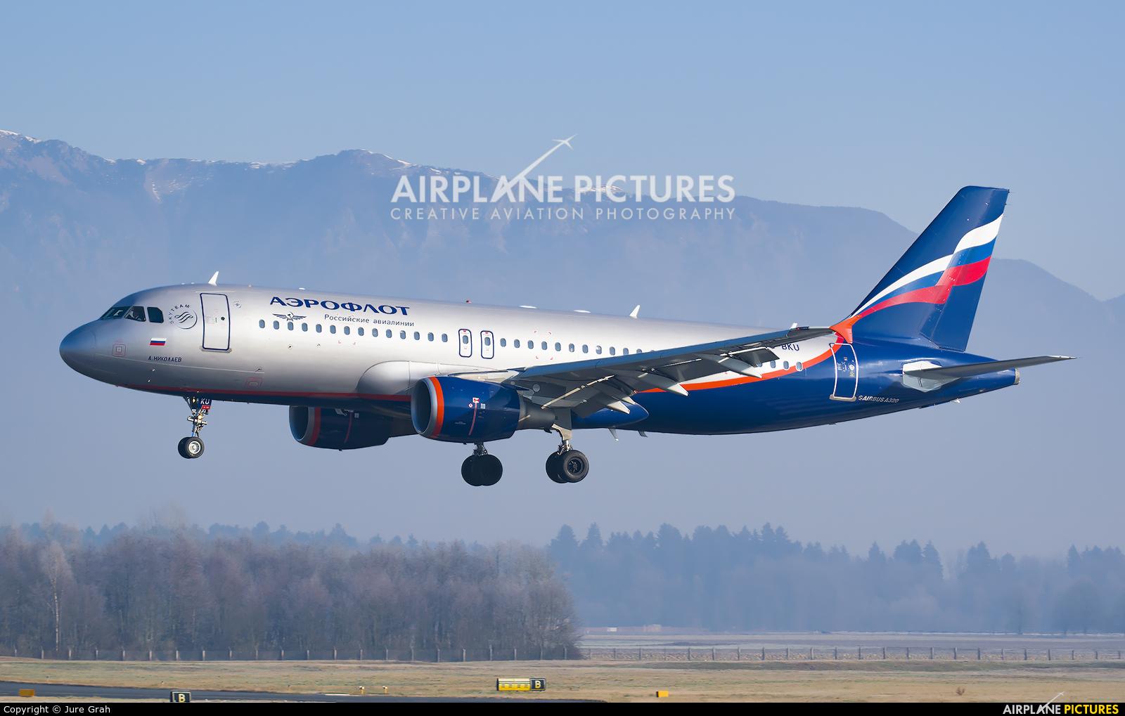 Aeroflot VQ-BKU aircraft at Ljubljana - Brnik