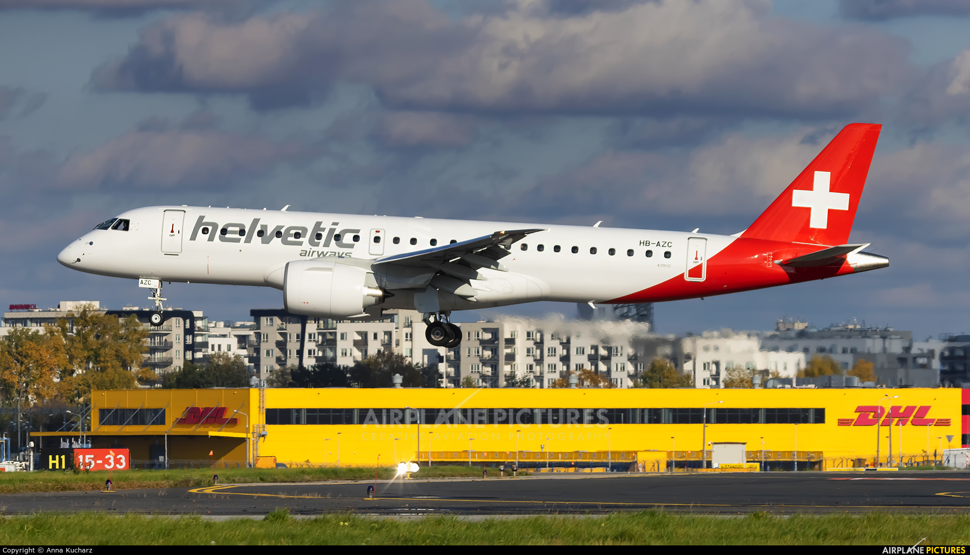 Helvetic Airways HB-AZC aircraft at Warsaw - Frederic Chopin