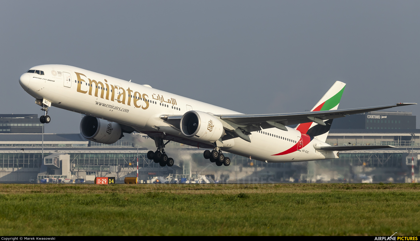 Emirates Airlines A6-EQC aircraft at Warsaw - Frederic Chopin