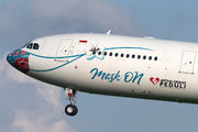 """Another Garuda Indonesia's plane wear special """"Mask on"""" livery title="""