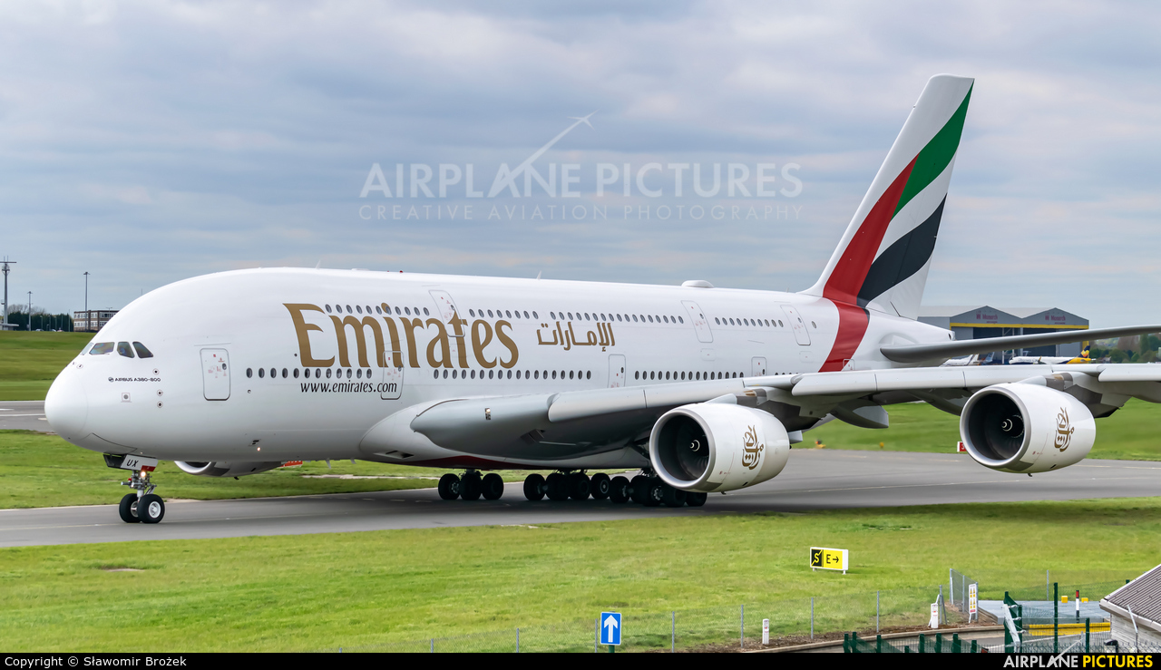 Emirates Airlines A6-EUX aircraft at Birmingham
