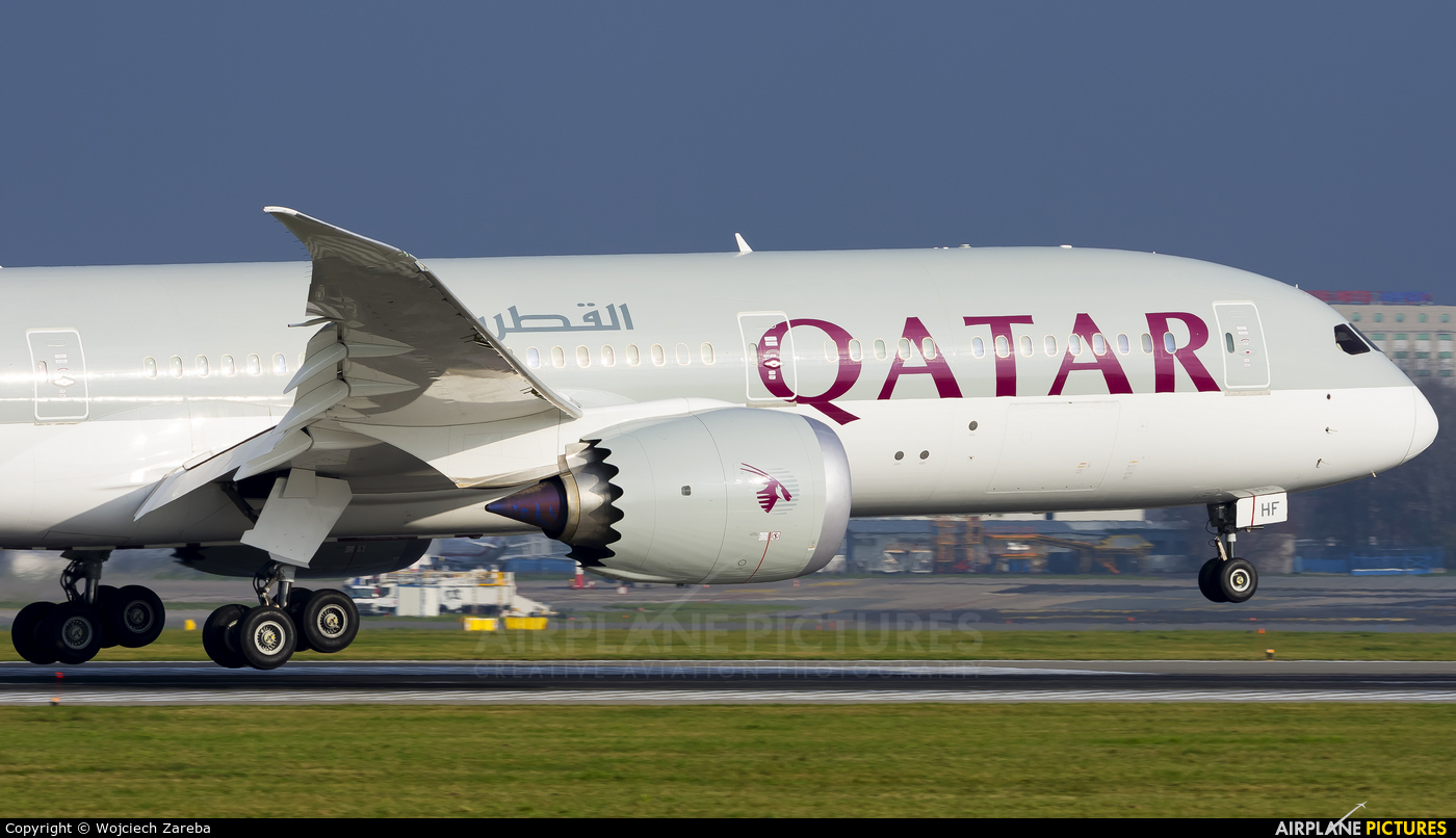 Qatar Airways A7-BHF aircraft at Warsaw - Frederic Chopin