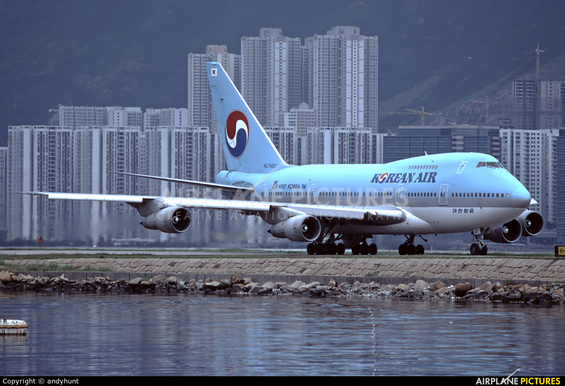 Korean Air HL7457 aircraft at HKG - Kai Tak Intl CLOSED