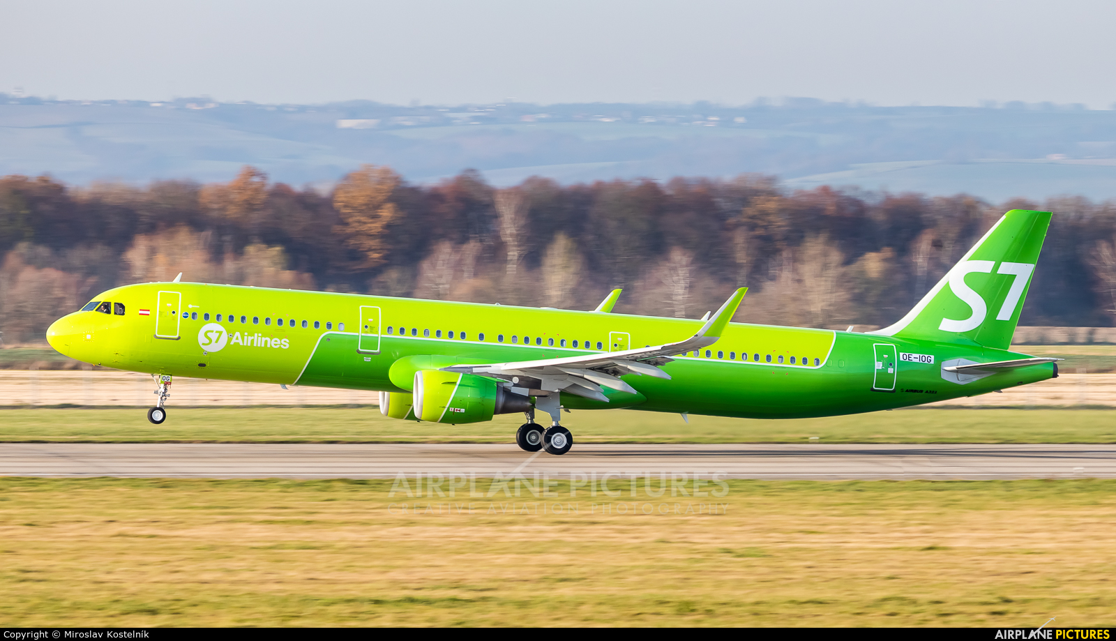 S7 Airlines OE-IOG aircraft at Ostrava Mošnov