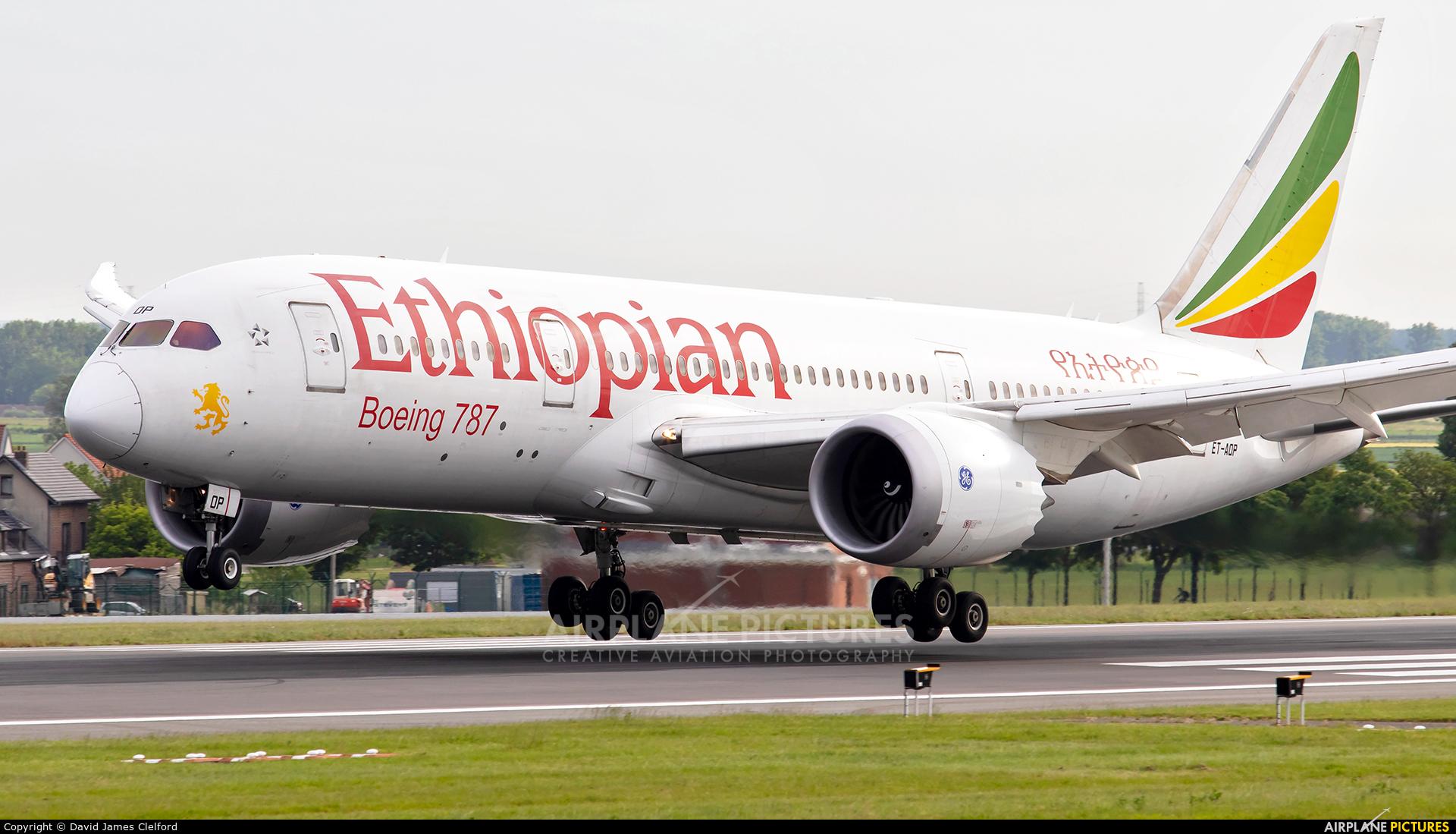 Ethiopian Airlines ET-AOP aircraft at Brussels - Zaventem