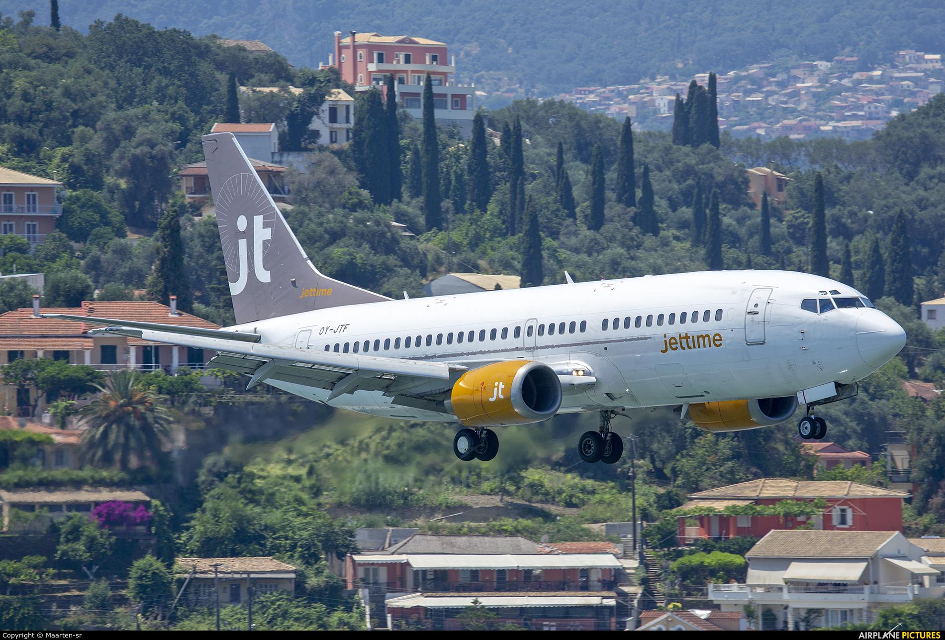 Jet Time OY-JTF aircraft at Corfu - Ioannis Kapodistrias