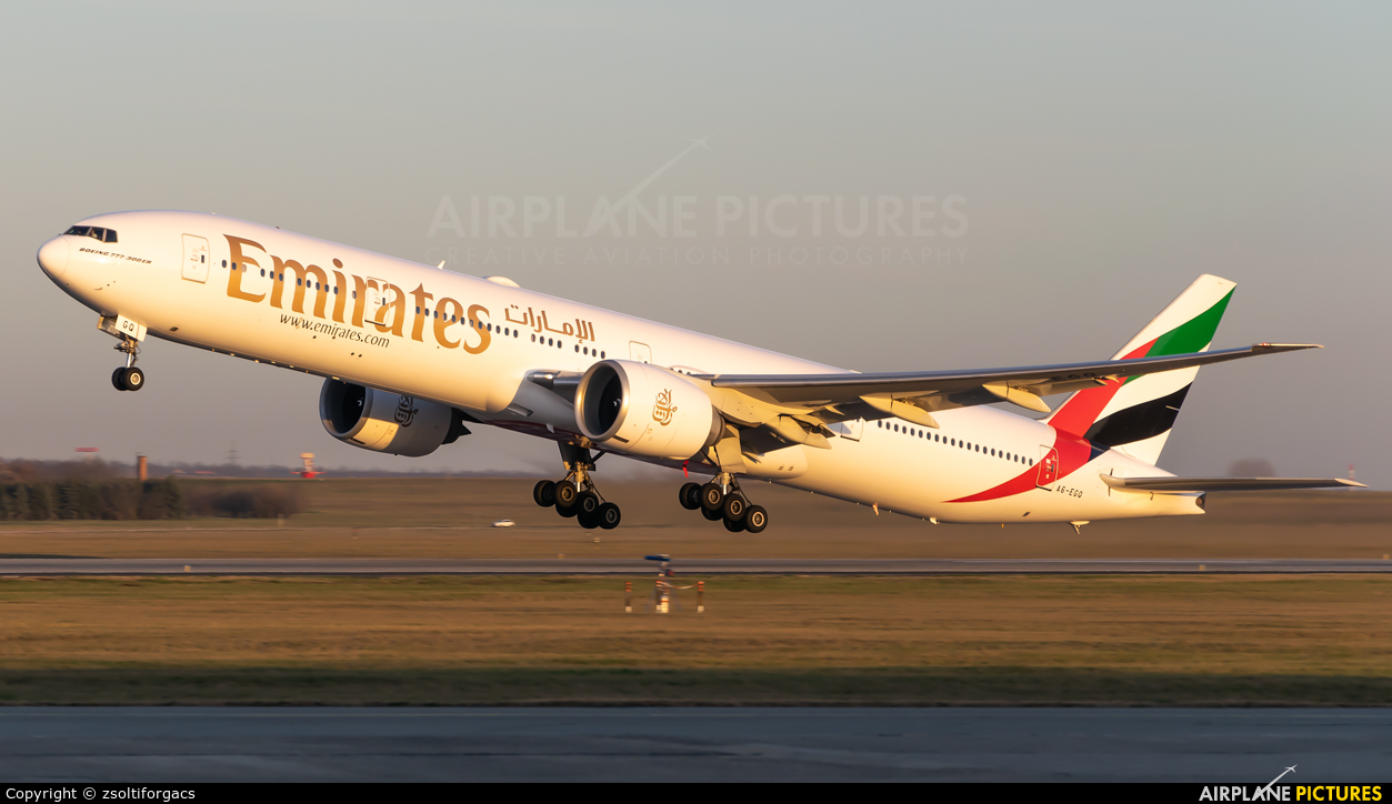 Emirates Airlines A6-EGQ aircraft at Budapest Ferenc Liszt International Airport