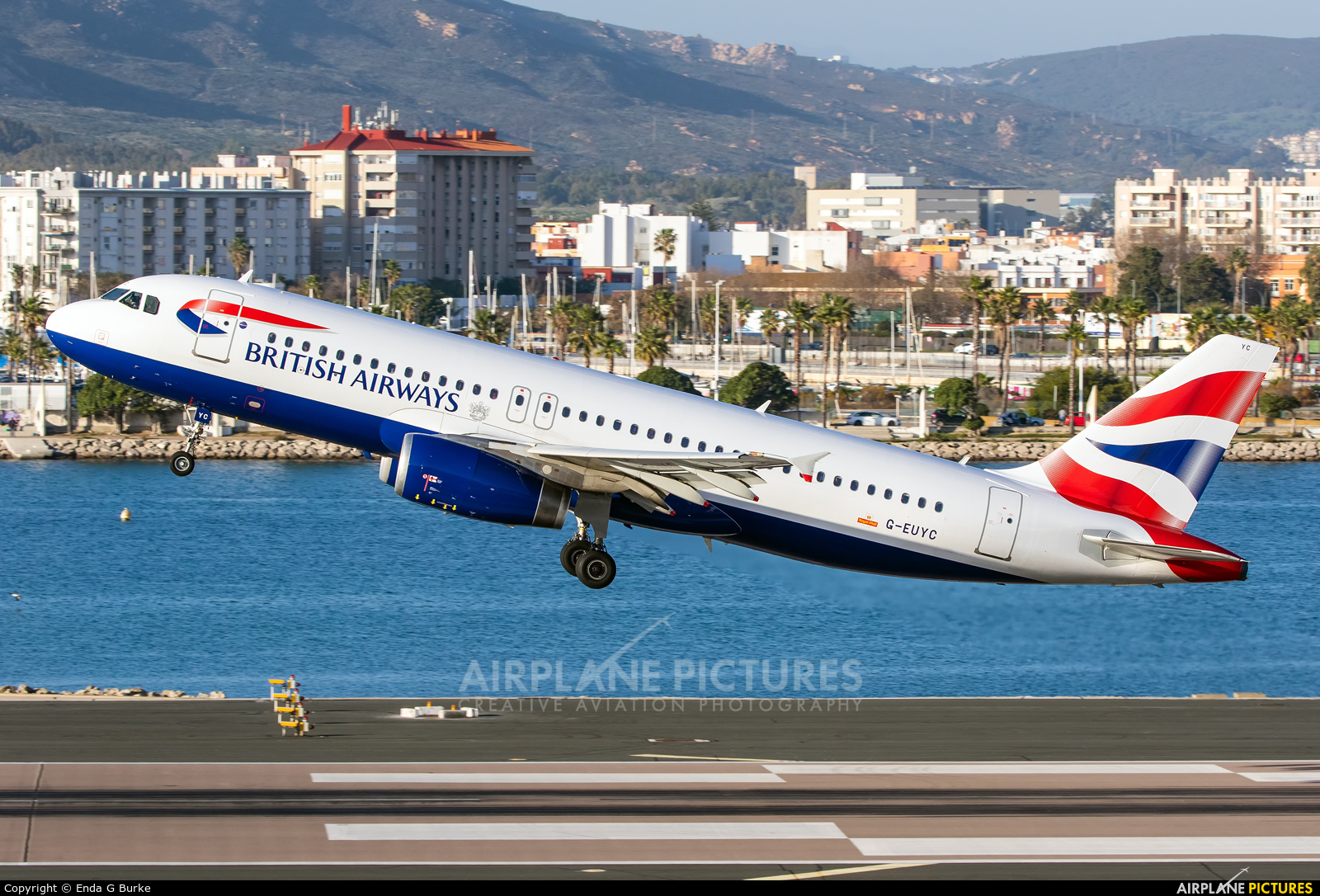 British Airways G-EUYC aircraft at Gibraltar
