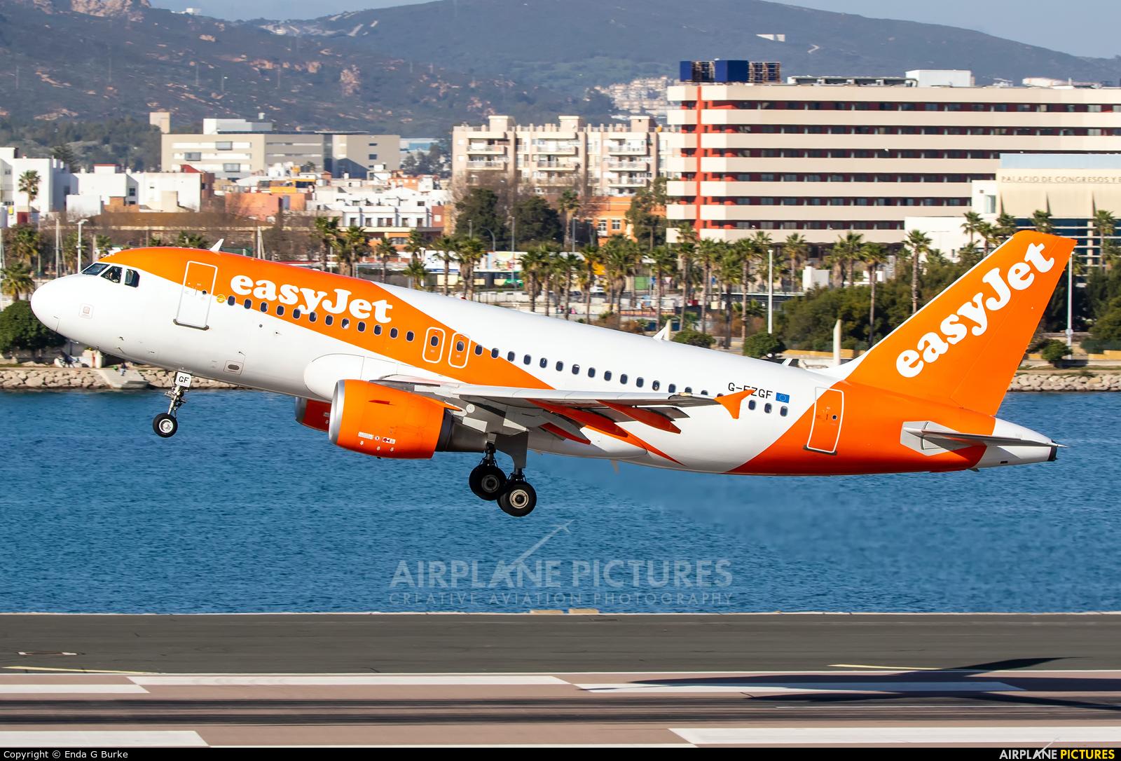 easyJet G-EZGF aircraft at Gibraltar