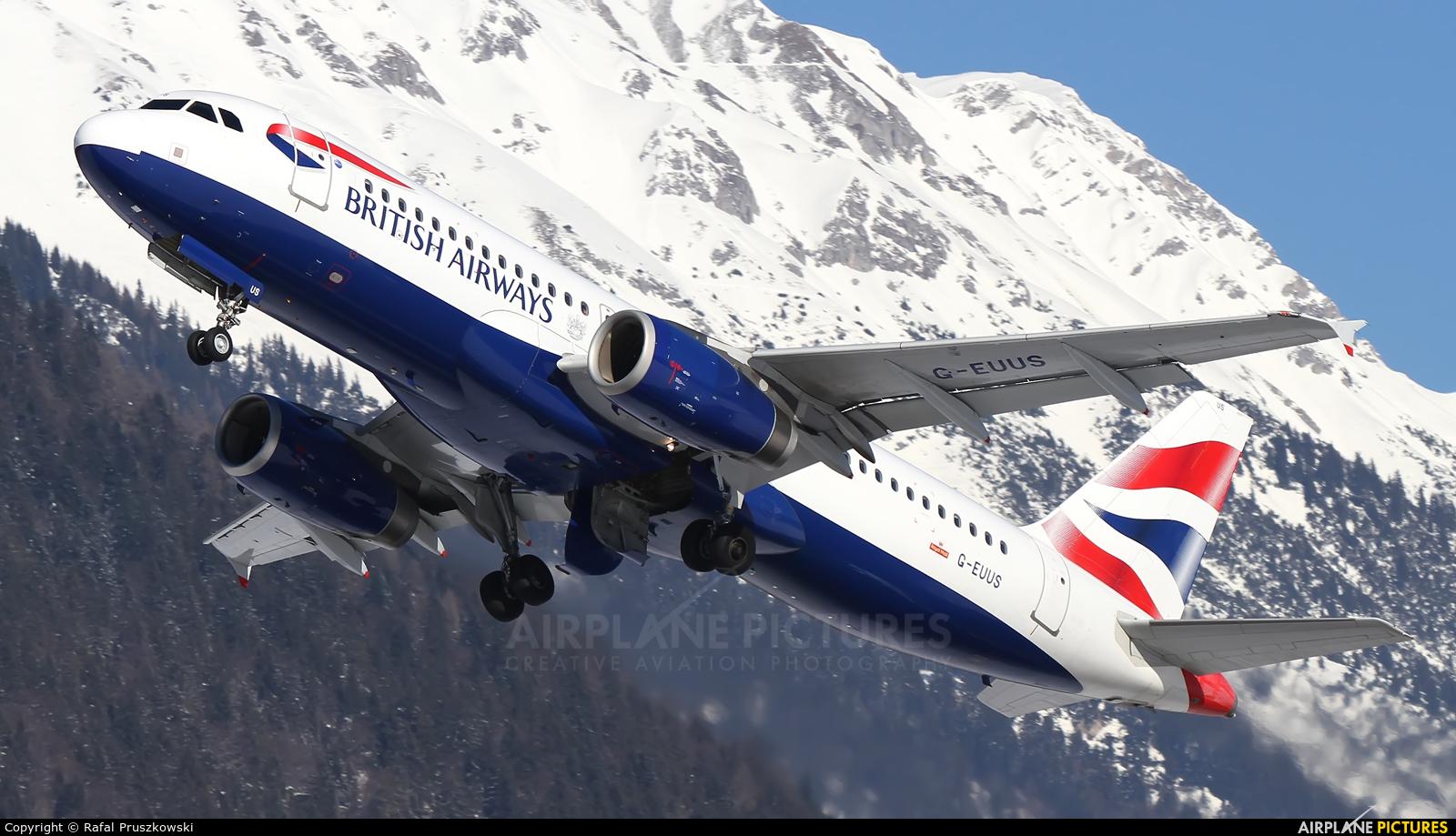 British Airways G-EUUS aircraft at Innsbruck
