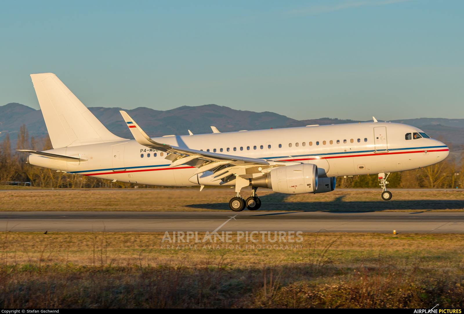 Global Jet Luxembourg P4-MGU aircraft at Basel - Mulhouse- Euro