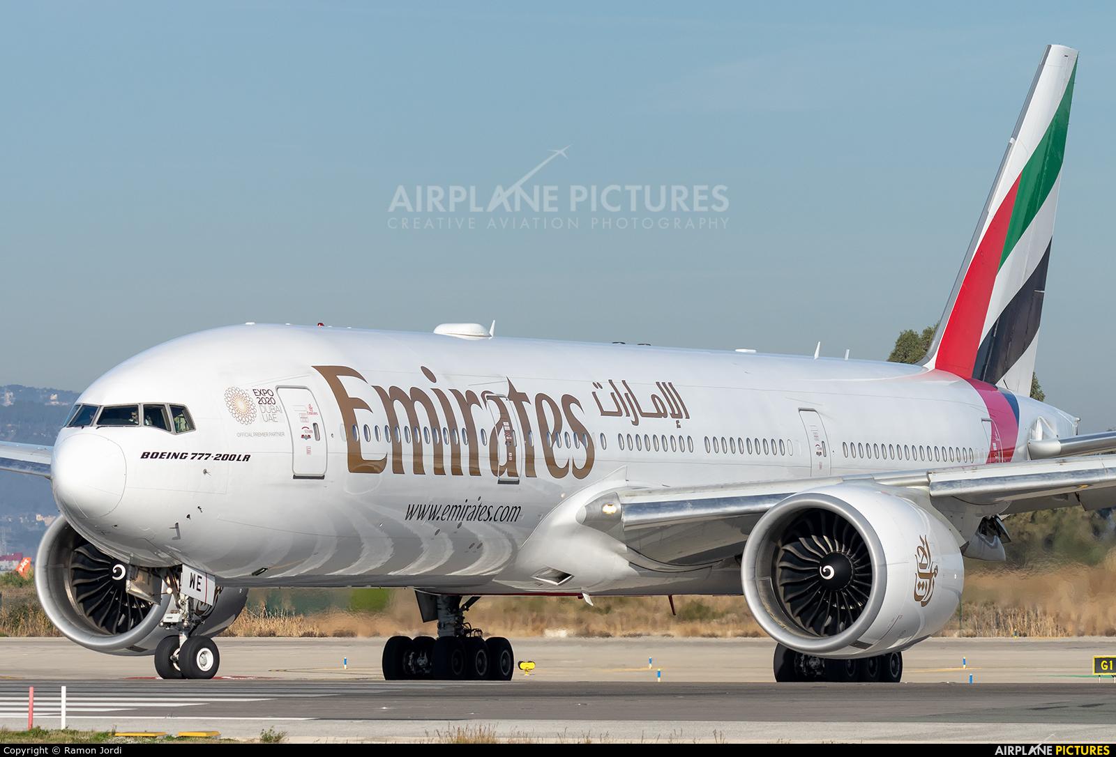 Emirates Airlines A6-EWE aircraft at Barcelona - El Prat