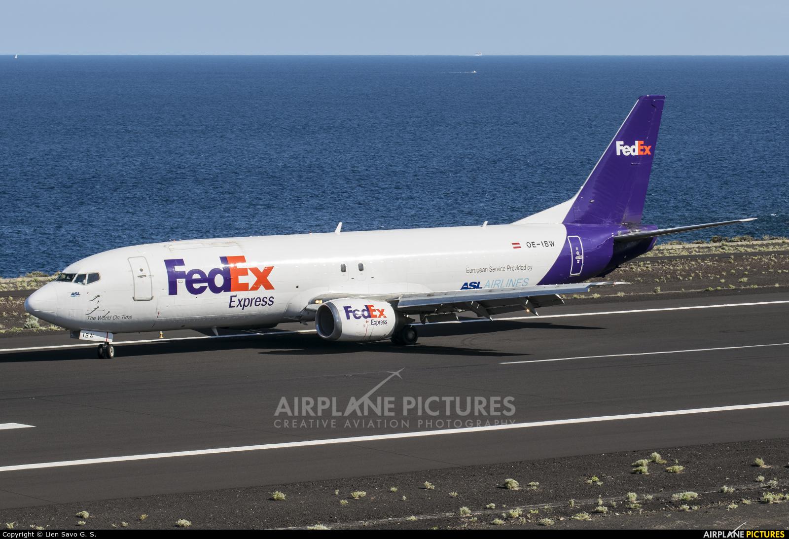 FedEx Federal Express OE-IBW aircraft at Santa Cruz de La Palma