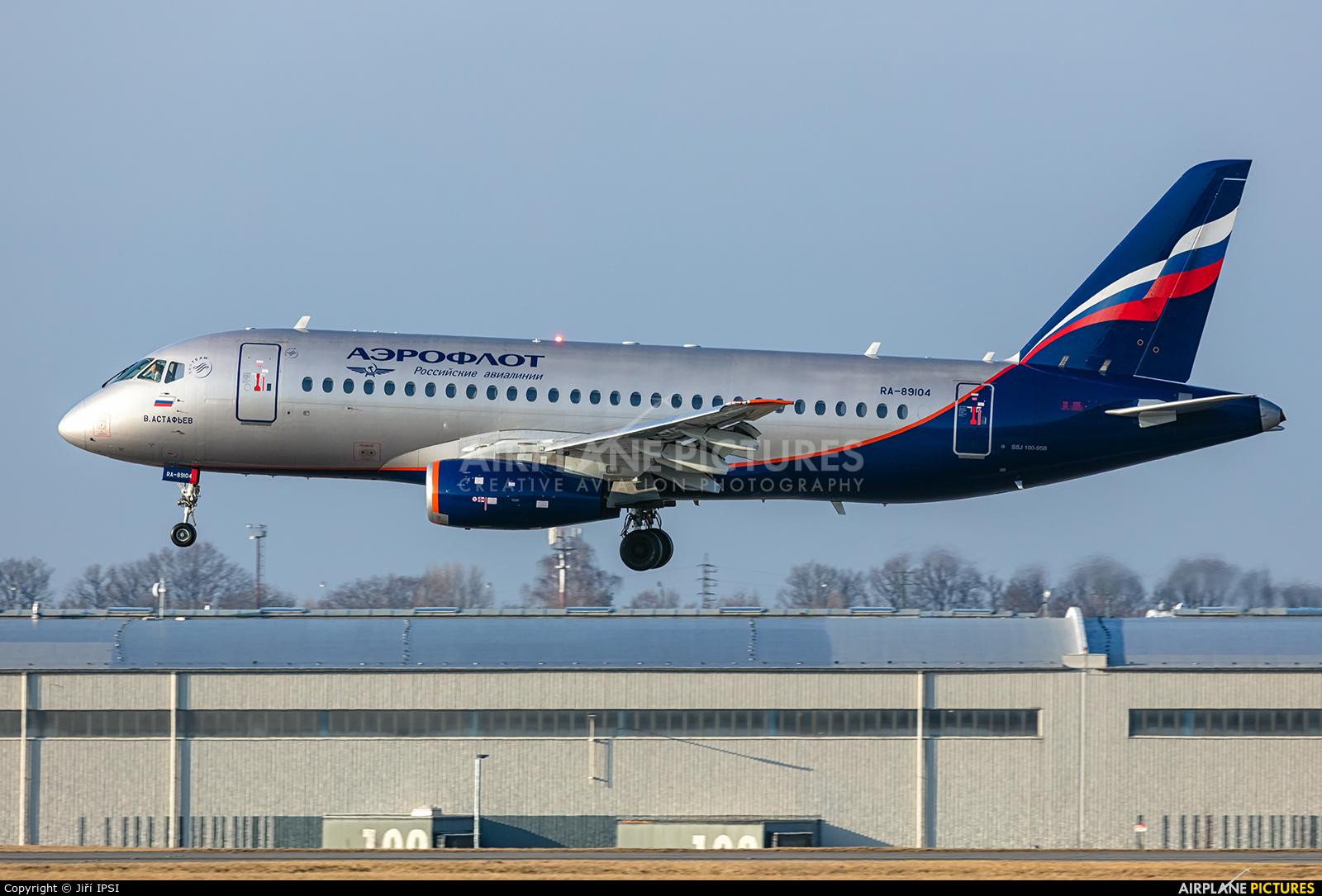 Aeroflot RA-89104 aircraft at Prague - Václav Havel