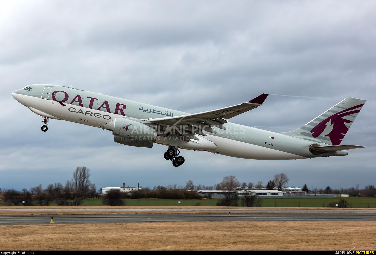 Qatar Airways Cargo A7-AFG aircraft at Prague - Václav Havel