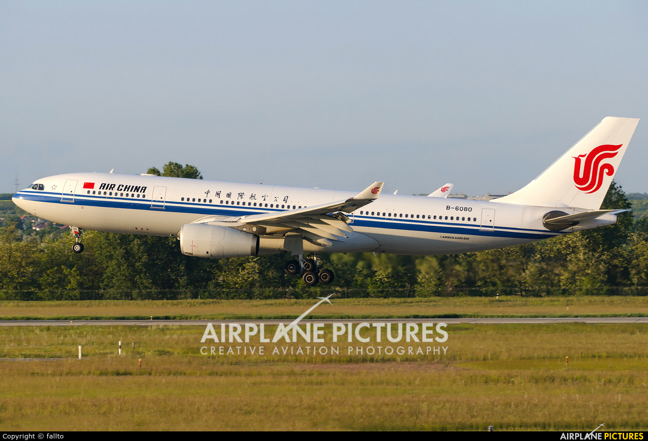 Air China B-6080 aircraft at Budapest Ferenc Liszt International Airport