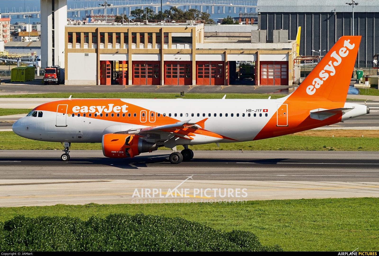 easyJet Switzerland HB-JYF aircraft at Lisbon
