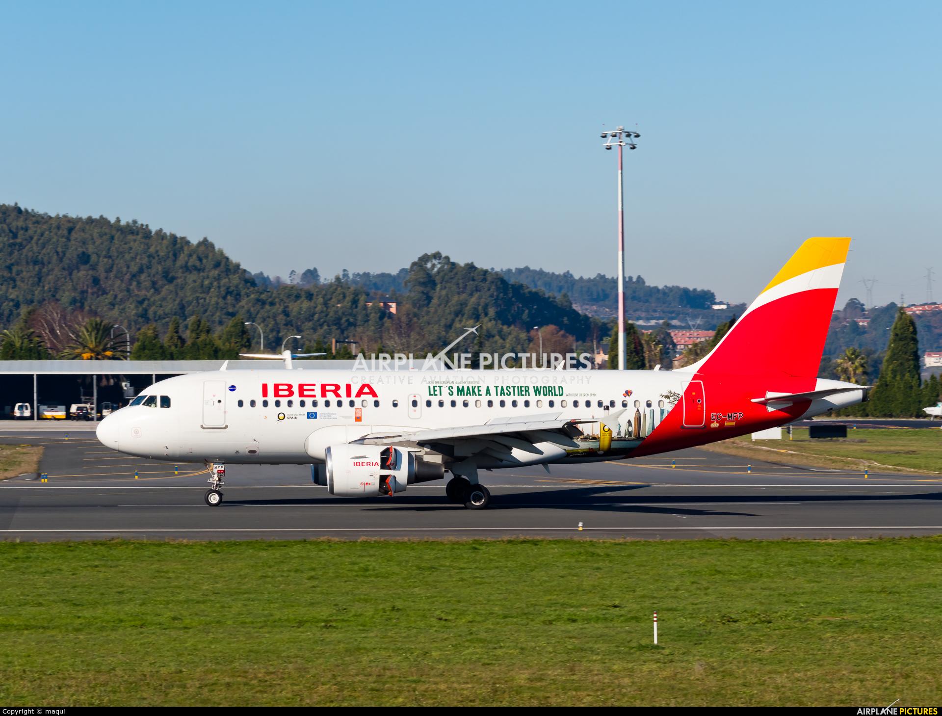 Iberia EC-MFP aircraft at La Coruña