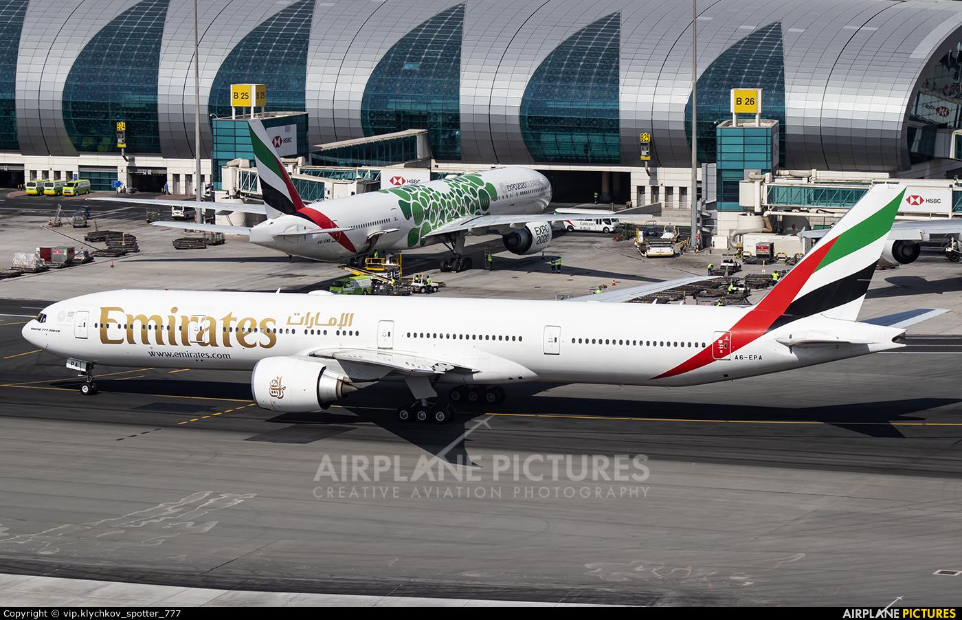 Emirates Airlines A6-EPA aircraft at Dubai Intl