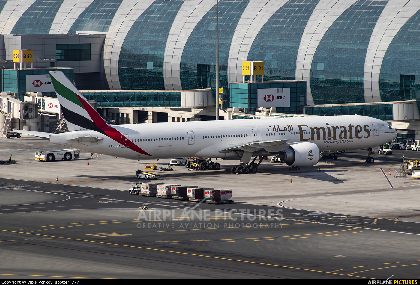 Emirates Airlines A6-EBY aircraft at Dubai Intl