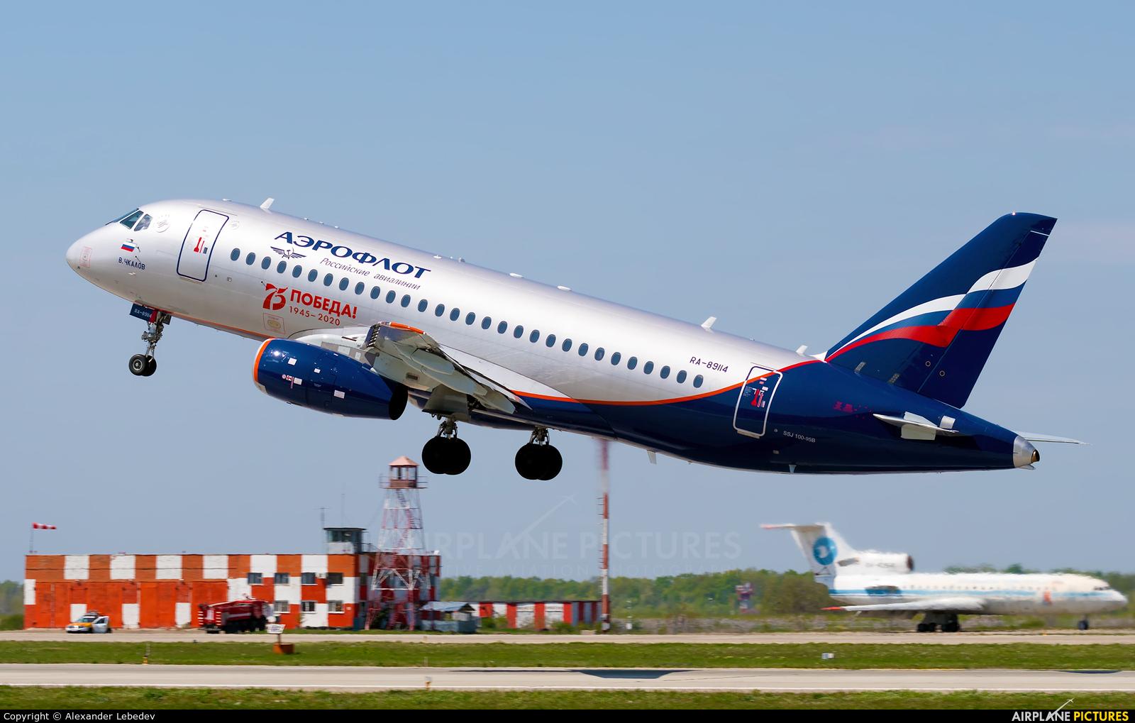 Aeroflot RA-89114 aircraft at Krasnodar