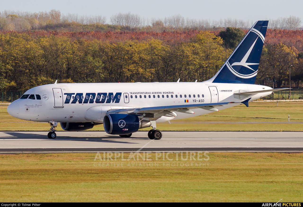 Tarom YR-ASD aircraft at Budapest Ferenc Liszt International Airport