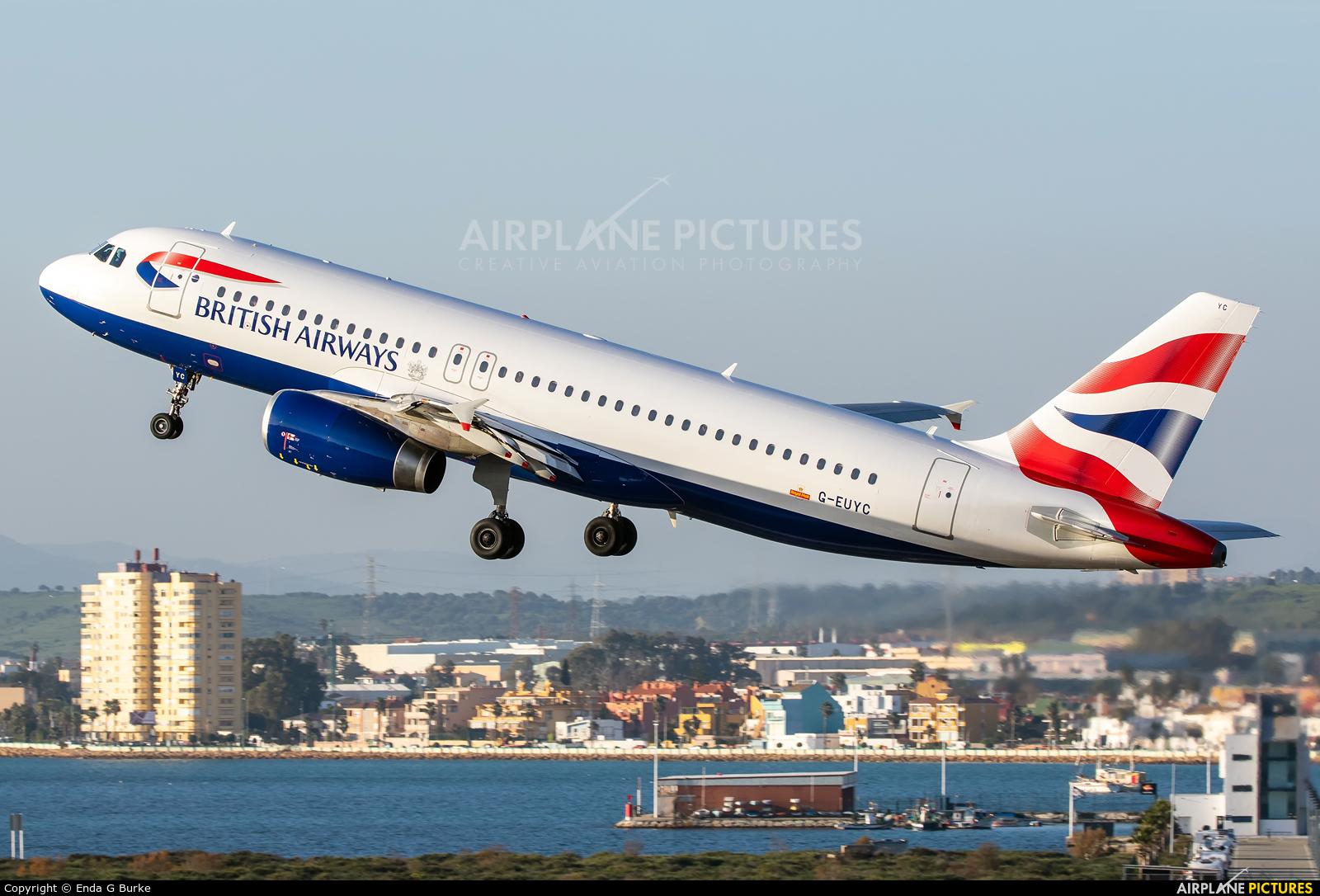 British Airways G-EUYC aircraft at Gibraltar