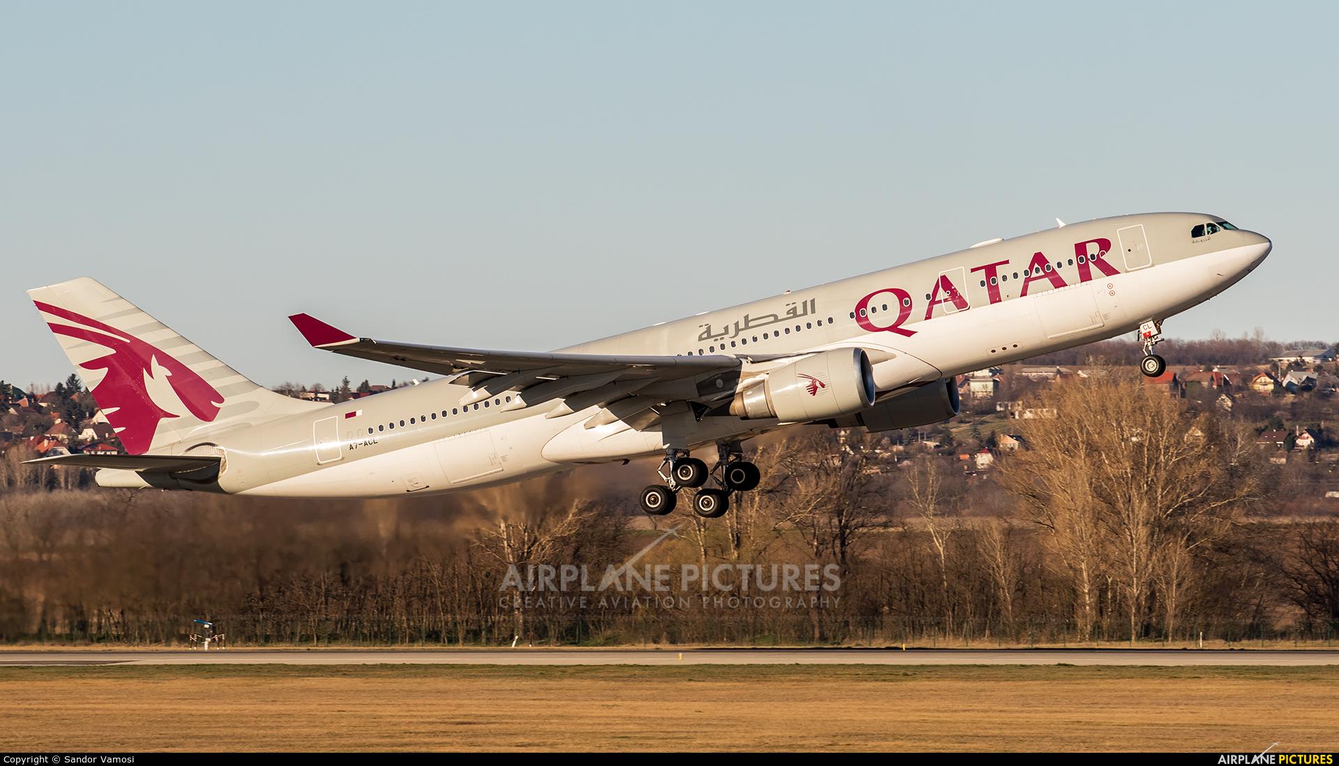 Qatar Airways A7-ACL aircraft at Budapest Ferenc Liszt International Airport