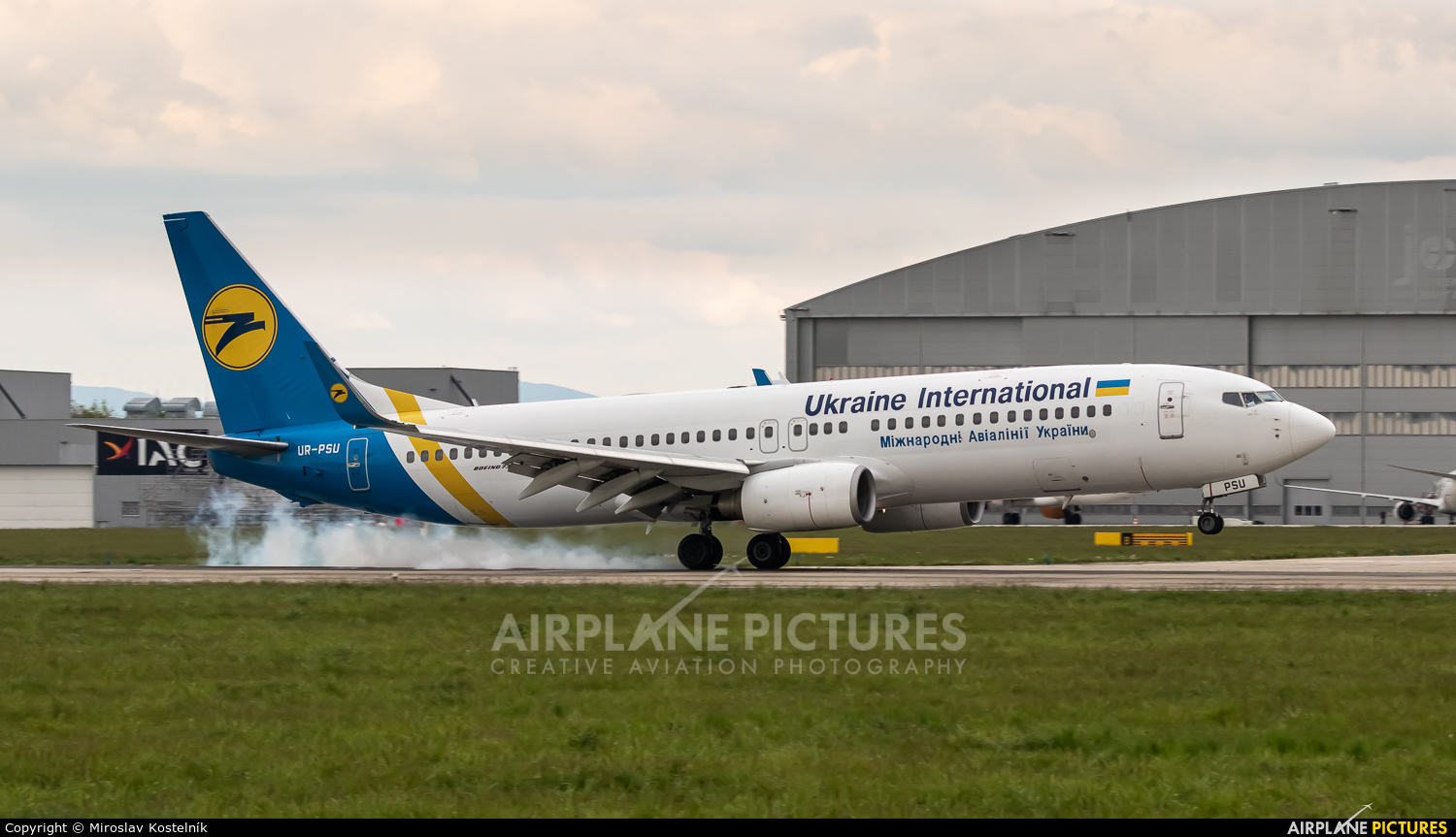Ukraine International Airlines UR-PSU aircraft at Ostrava Mošnov