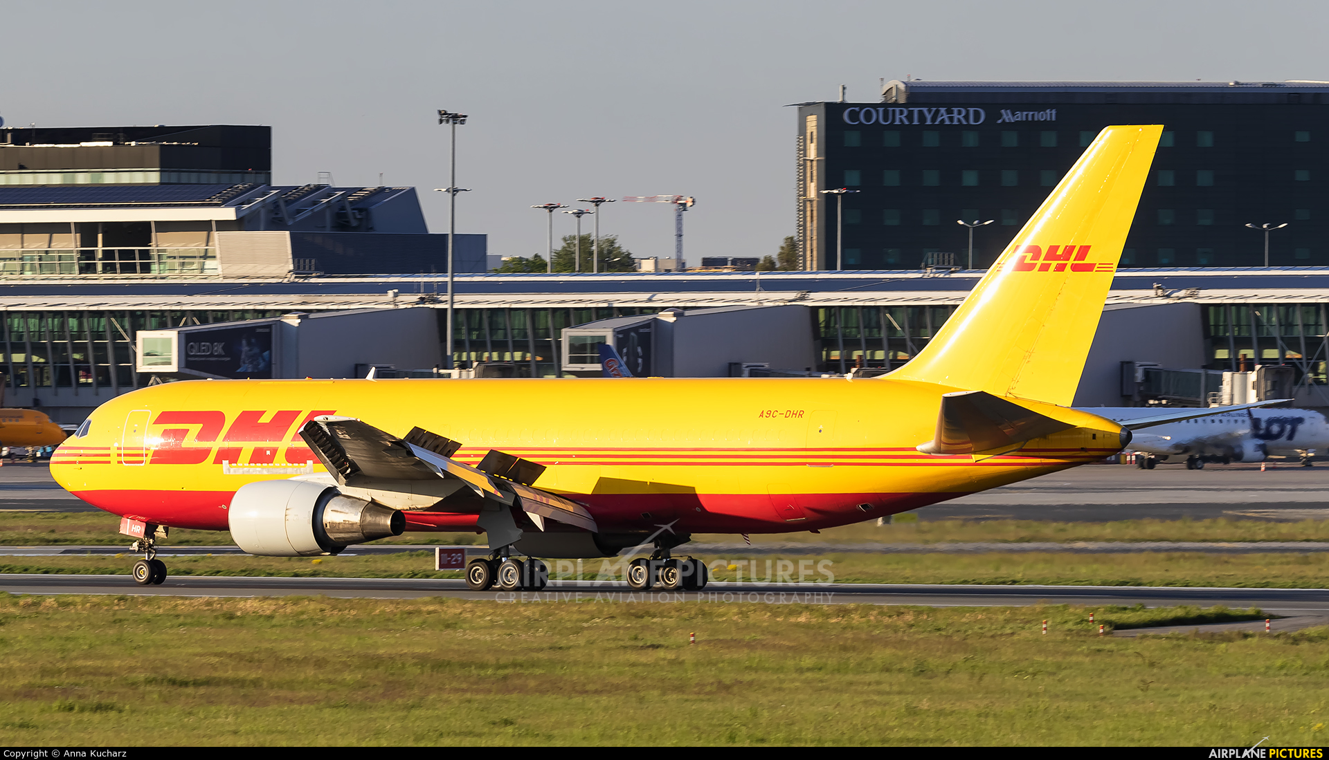 DHL Cargo A9C-DHR aircraft at Warsaw - Frederic Chopin