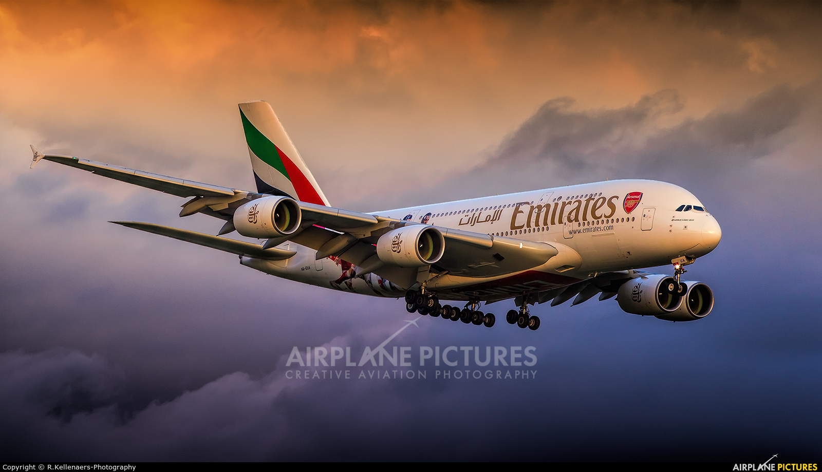 Emirates Airlines A6-EUA aircraft at London - Gatwick