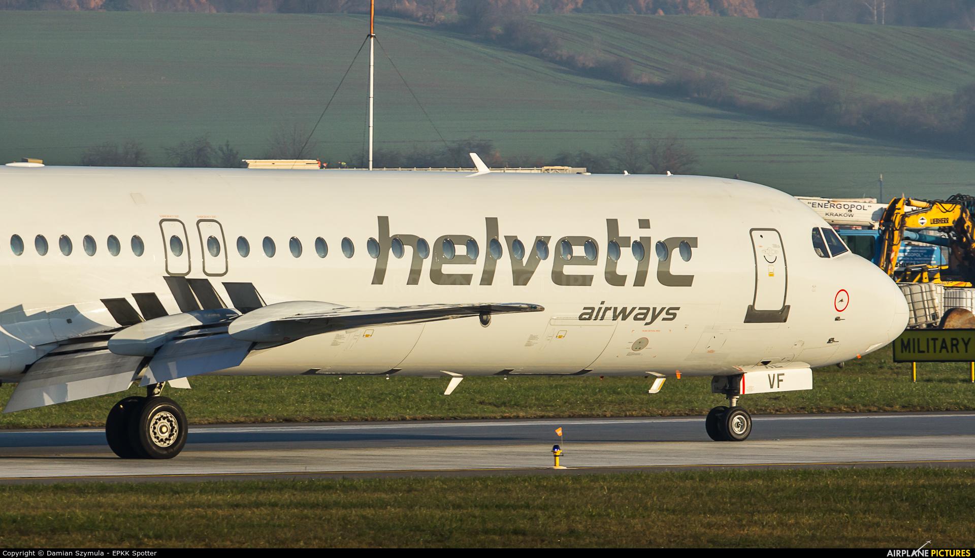 Helvetic Airways HB-JVF aircraft at Kraków - John Paul II Intl
