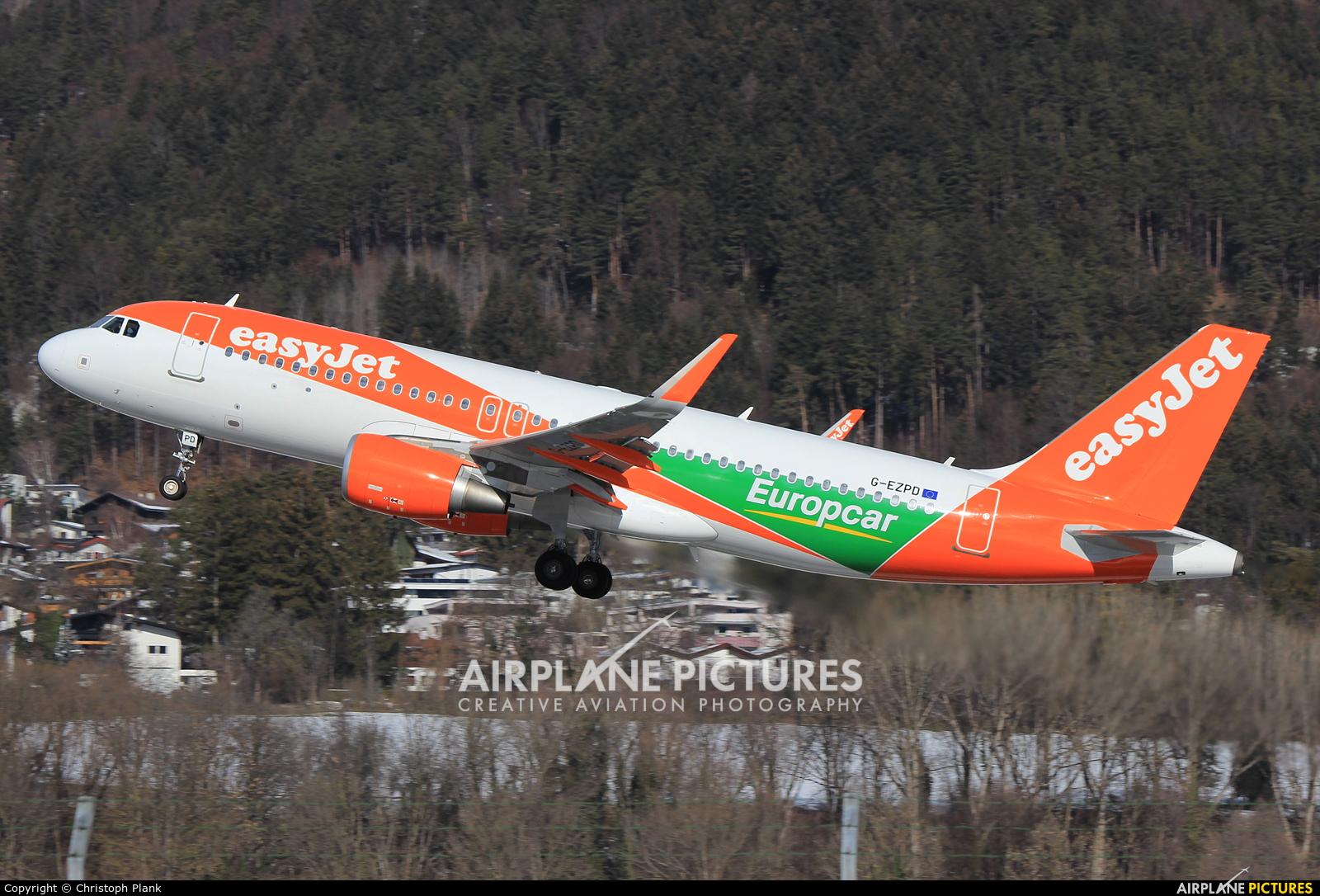 easyJet G-EZPD aircraft at Innsbruck