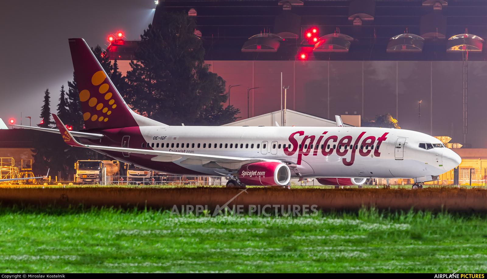 SpiceJet OE-IGF aircraft at Ostrava Mošnov