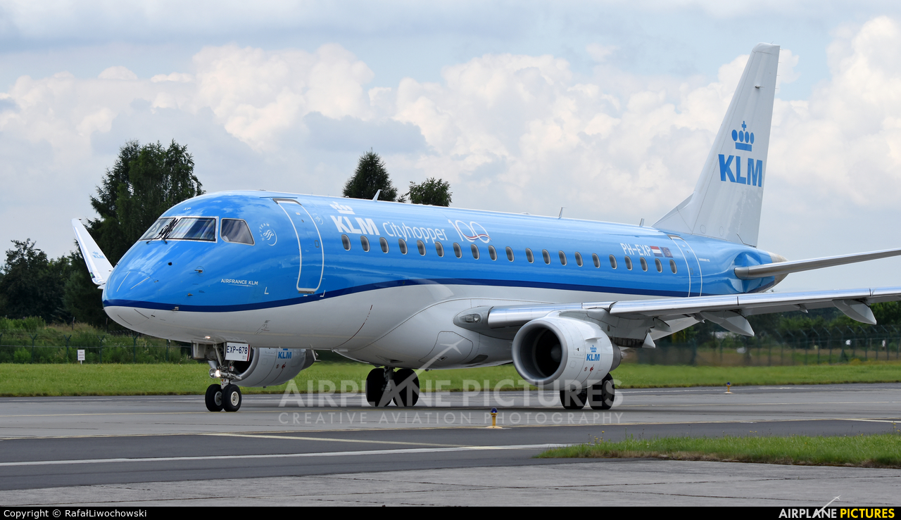 KLM Cityhopper PH-EXP aircraft at Kraków - John Paul II Intl