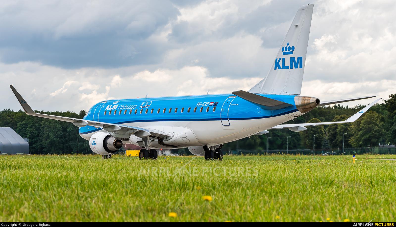 KLM Cityhopper PH-EXP aircraft at Kraków - John Paul II Intl