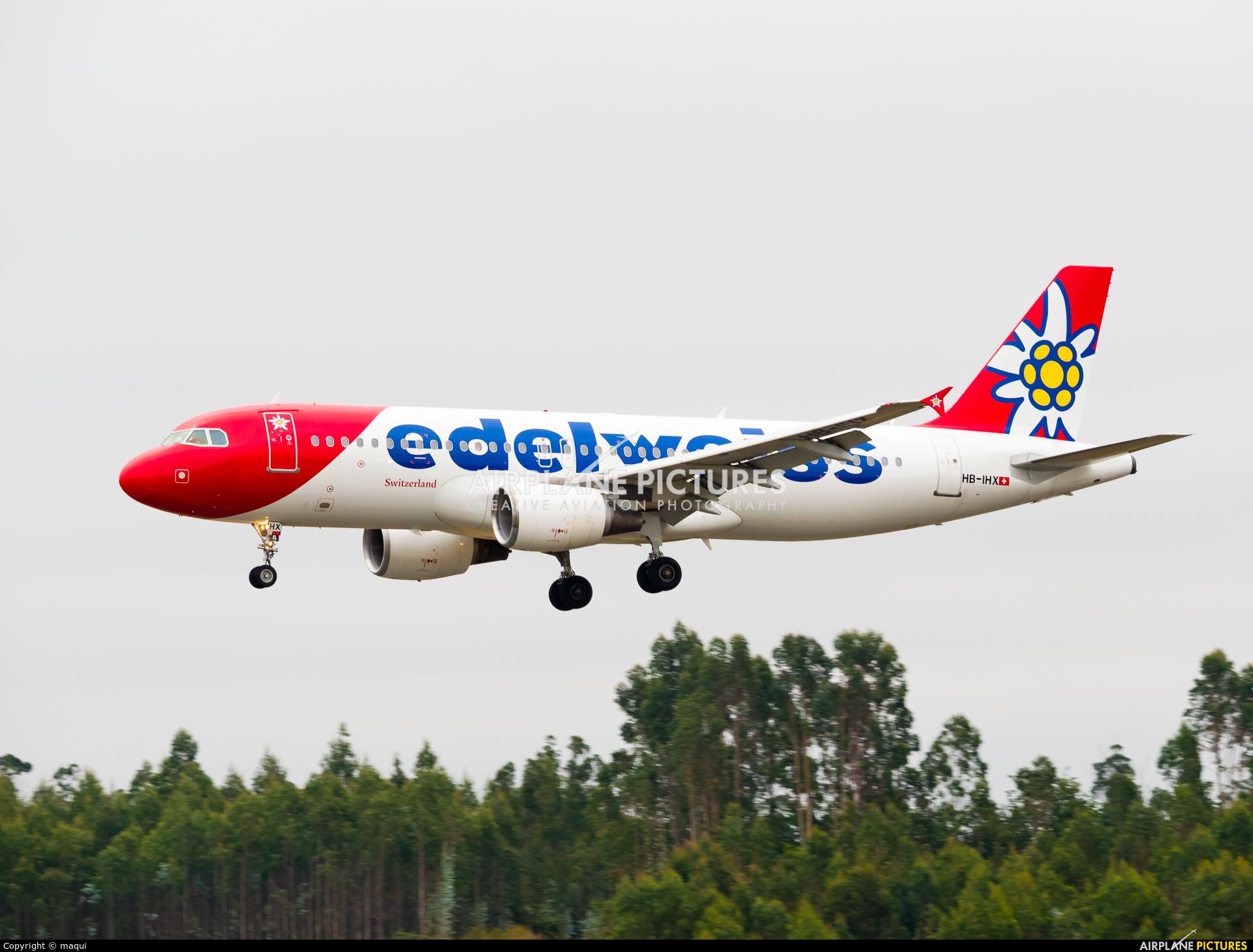 Edelweiss HB-IHX aircraft at Santiago de Compostela