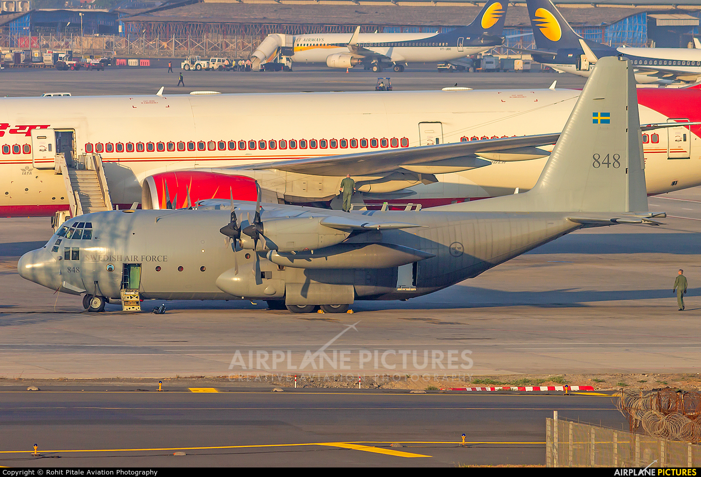Sweden - Air Force 848 aircraft at Mumbai - Chhatrapati Shivaji Intl