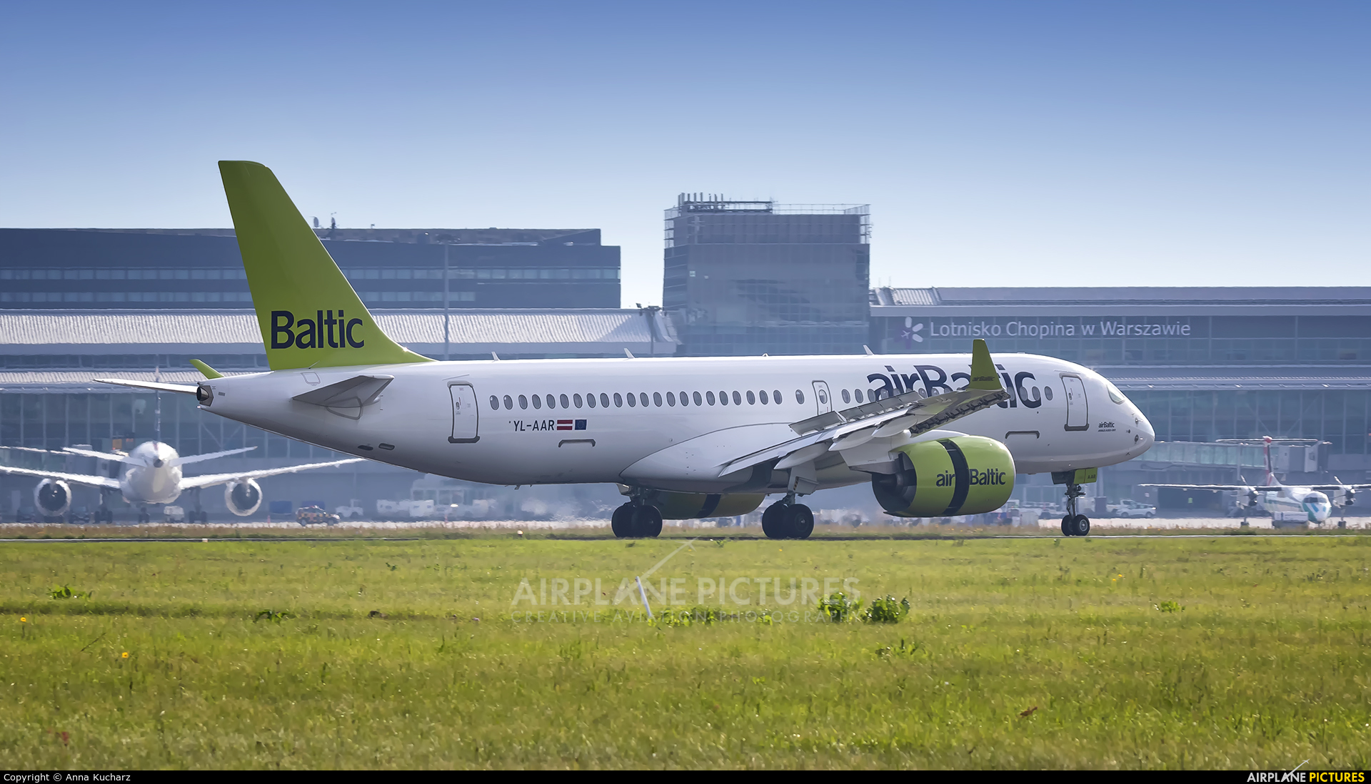 Air Baltic YL-AAR aircraft at Warsaw - Frederic Chopin
